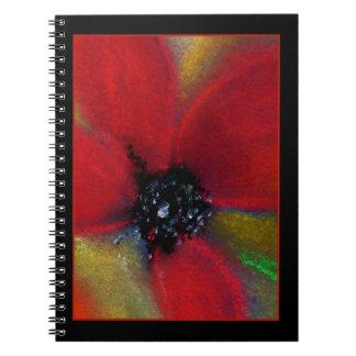 Flor roja, amapola cuaderno