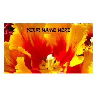 Flor roja amarilla del tulipán de las tarjetas de tarjetas de visita