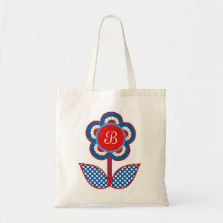 Flor roja blanca y azul de la libertad bolsa lienzo