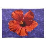 Flor roja bonita del hibisco mantel individual