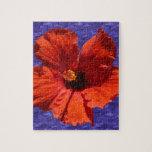 Flor roja bonita del hibisco puzzle