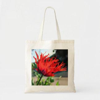 Flor roja brillante de la amapola bolsa lienzo