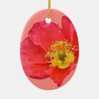 Flor roja de la amapola adorno navideño ovalado de cerámica
