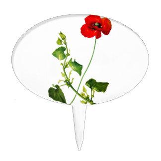 Flor roja de la amapola decoración de tarta