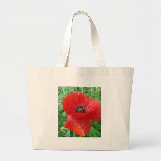 Flor roja de la amapola bolsa tela grande