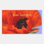 Flor roja de la amapola rectangular pegatina
