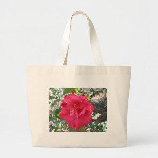 Flor roja de la camelia bolsa lienzo