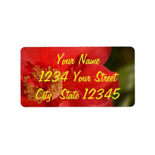 Flor roja de la camelia etiquetas de dirección