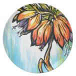 Flor roja de la corona plato de cena