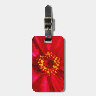 Flor roja de la margarita con el extracto amarillo etiqueta para equipaje