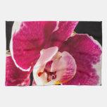 Flor roja de la orquídea toalla