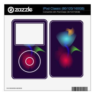 Flor roja del azul del bulbo iPod classic skin