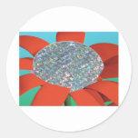 flor roja del brillo pegatina redonda