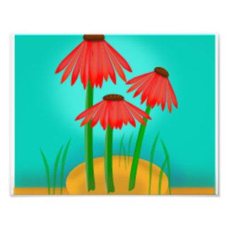 Flor roja del cono cojinete