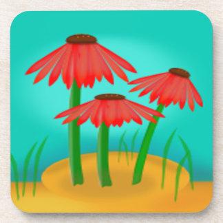 Flor roja del cono posavasos de bebida