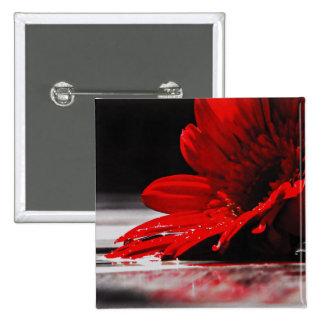 Flor roja del Gerbera de la margarita Pin Cuadrada 5 Cm