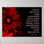 Flor roja del Grunge para el éxito de la aptitud Poster