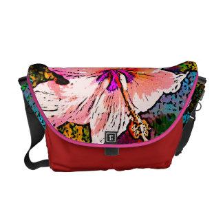 Flor roja del hibisco bolsas de mensajería