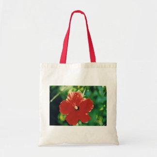 Flor roja del hibisco bolsa tela barata
