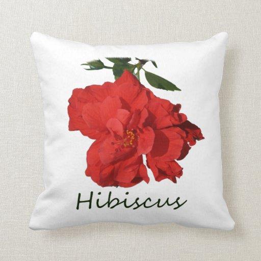 Flor roja del hibisco con el texto cojín
