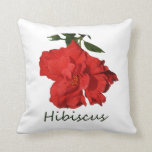 Flor roja del hibisco con el texto cojin