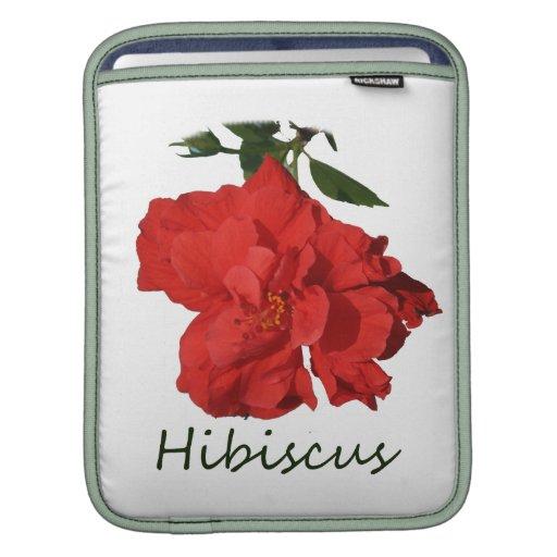 Flor roja del hibisco con el texto fundas para iPads