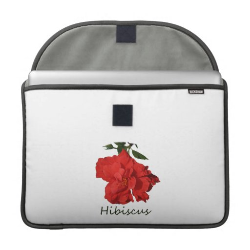 Flor roja del hibisco con el texto fundas macbook pro