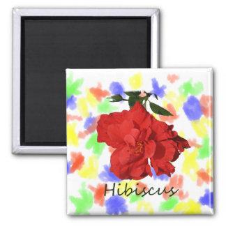 Flor roja del hibisco con el texto imán cuadrado