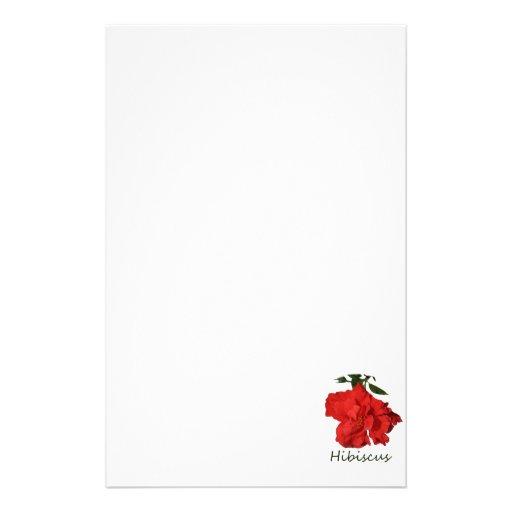 Flor roja del hibisco con el texto  papeleria
