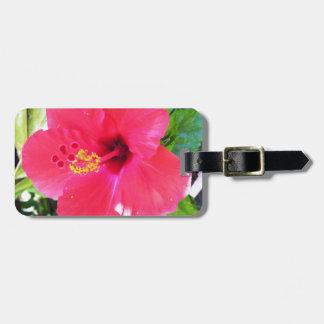 Flor roja del hibisco de Hawaii Etiquetas De Maletas