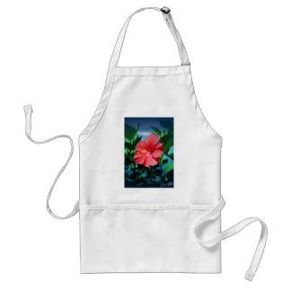 Flor roja del hibisco delantal