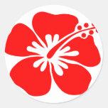 Flor roja del hibisco etiqueta