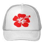 Flor roja del hibisco gorras