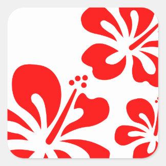 Flor roja del hibisco pegatina cuadrada