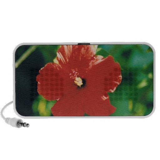 Flor roja del hibisco portátil altavoz