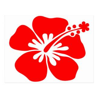 Flor roja del hibisco postal
