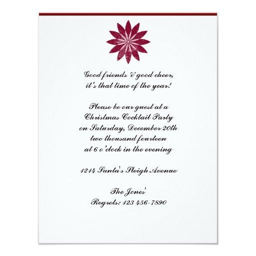 Flor roja del Poinsettia en el fondo blanco Invitaciones Personalizada