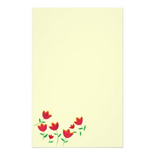 flor roja del tulipán de las señoras papelería personalizada