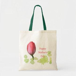flor roja del tulipán, el día de madre feliz bolsa tela barata