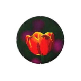 Flor roja del tulipán jarrones de dulces