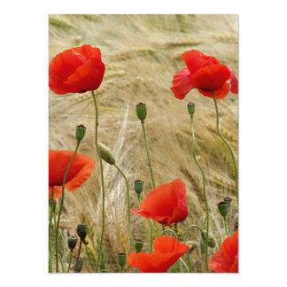 """flor roja del verano invitación 5.5"""" x 7.5"""""""