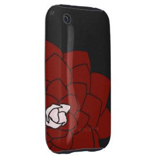 Flor roja en la caja oscura del iPhone 3 del Funda Though Para iPhone 3