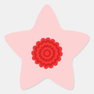 Flor roja en rosa bonito pegatina forma de estrella personalizadas