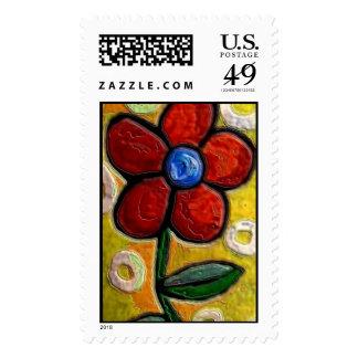 Flor roja enrrollada - sello