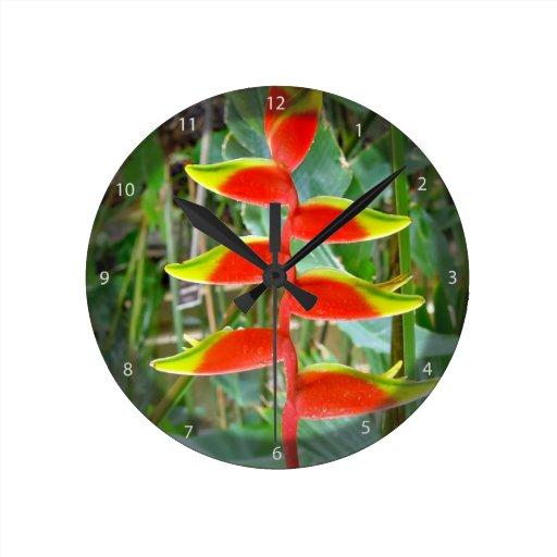 Flor roja formada pico hermoso relojes de pared