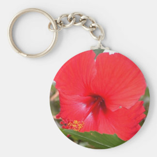 Flor roja llavero redondo tipo pin