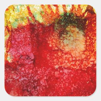 Flor roja loca pegatina cuadrada