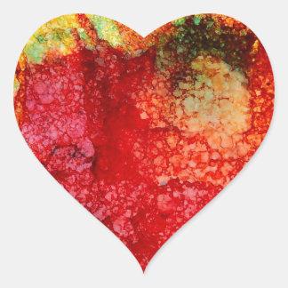 Flor roja loca pegatina en forma de corazón