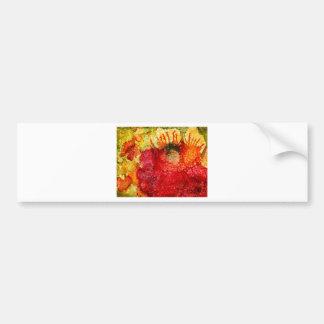 Flor roja loca pegatina para auto