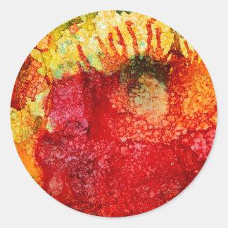 Flor roja loca pegatina redonda